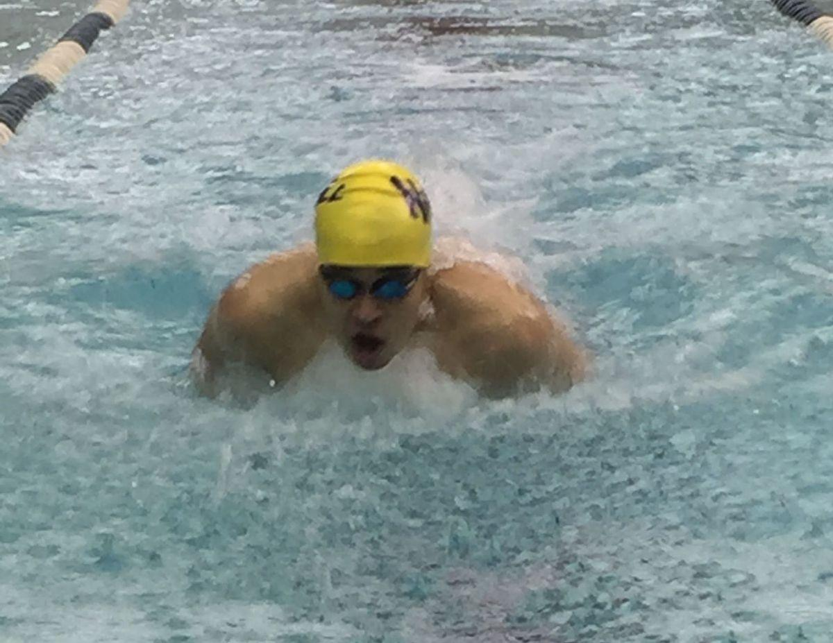 Senior swimmer Ezra Bonilla