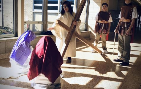 Mrs. Fredericksen's freshmen class does Stations of the Cross for third year